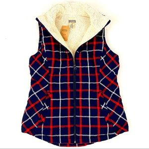 DULUTH plaid fleece-lined holiday vest